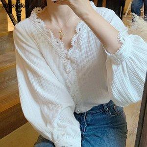 Women's Blouses & Shirts Women Embroidered Flares Loose V-neck Design Trendy Leisure Harajuku Feminine All-match Spring Elegant Retro Cozy