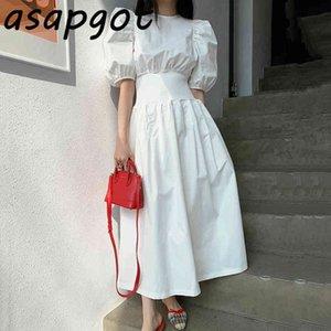 Chic coreano elegante solta plissada cintura preta grande vestido de balanço longo o pescoço manga sopro branco mulheres primavera moda 210429