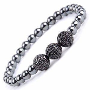 Trendy Black Cz Ball Charm Bracelet Men Natural Stone Hematite Beaded Bracelets & Bangels For Women Handmade Jewelry Gift Beaded, Strands