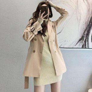 Women's Trench Coats 2021 Women Short Spring Windbreaker Casual Loose Safari Clothes Fashion Stand Collar Drawstring Female Coat