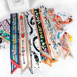Красивая печать роскошный сумка ремешок шарф женский шелковый шарф мода головы шарф головные уборы длинные шарфы сумка аксессуары ленты