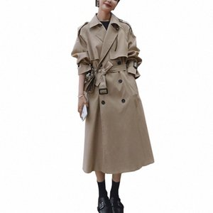 2021 Autumn Women Trench Coat With Belt Women Clothes Blue Coat Casaco Feminino Harajuku Abrigo Mujer Long Trench Femme o1gf#
