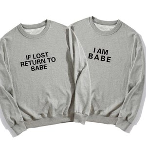 Autumn Women Men Hoodies Sweatshirts Casual If Lost Return To Babe I Am Letter Print Pullover Matching Clothes For Couples Women's &