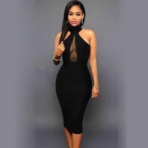 pencil black transparent Drop dress halterneck back shipping zip party dresses women