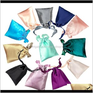 Storage Housekeeping Organization Home Garden Drop Delivery 2021 Satin Dstring Bags Silk Cloth Jewelry Wigs Cosmetic Packaging Eye Mask Pouch