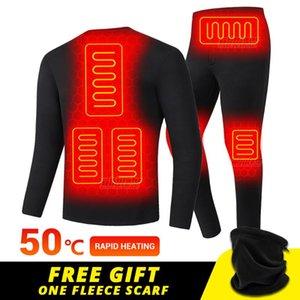 Skiing Jackets Winter Heated Underwear USB Battery Powered Fleece Thermal Heating Ski Jacket Moto Long Johns Pants Electric Suit Men