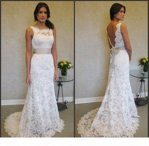 Sleeveless High Neck Mermaid Lace Plus Size Wedding Dresses With Sash vestidos de festa curto e elegante para casamento