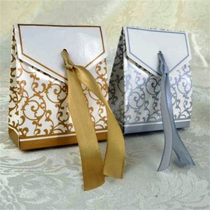 New 10pcs Creative Golden Silver Ribbon Wedding Favours Party Gift Candy Paper Box Cookie Candy gift bags Event Party Supplies 651 R2
