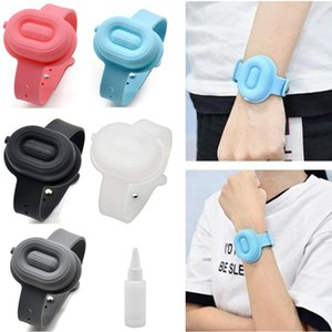 5Colors Silicone Wristbands Hand Sanitizer Bracelet Wearable Sanitizering Dispenser Travel With 20ml Squeeze Bottle DO71