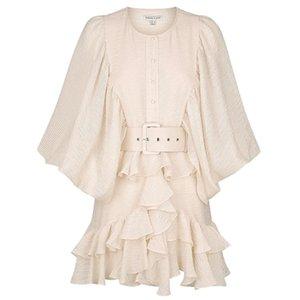 Роскошные сексуальные женщины платья экипажа шеи с длинным рукавом напечатанное платье с поясом Высокое качество женской тонкой коротким миланской взлетно-посадочной полосой вечеринка одежда E15