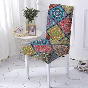 Spandex Printed Mandala Chair Cover Stretch Elastic Dining Seat for Banquet Wedding Anti-dirty Removable housse de chaise