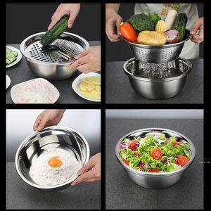 3 in 1 Sebze Dilimleme Kesici Tahliye Sepeti Mutfak Aletleri Paslanmaz Çelik Sebze Julienne Grater Salatası Makinesi Kase HWD6286