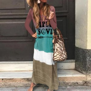 Casual Dresses Letter Printed Maxi Dress Women Autumn Long Sleeve Tie Dyeing Loose Streetwear For Ladies Vestidos