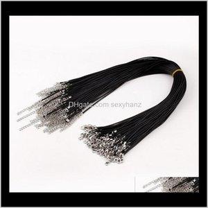 Komponenten Drop Lieferung 2021 Draht 100 PC 1Dot5mm 2mm Schwarz Wachs Leder Schlange Halskette Perlenschnur Schnur Seil DIY Schmuck Erkenntnisse Großhandel