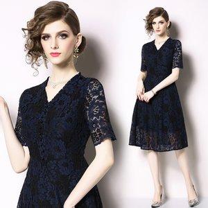 2021 роскошный дизайнер повседневный синий кружевной платье взлетно-посадочная полоса мода с коротким рукавом офис праздник выпускного вечера Sexy V-образным вырезом тонкий a-line платья лето осень элегантный стиль женщины одежда