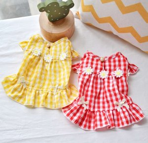 The dog clothes Pet clothes spring and summer seasonal thin plaid skirt Teddy beaumey bear miniature dog teacup puppy