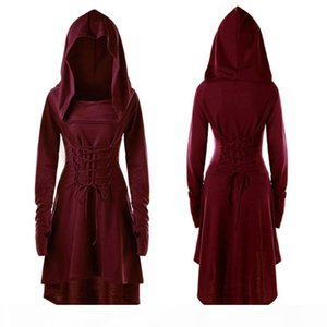 S-5XL Lady Hooded Dress Middle Ages Renaissance Halloween Archer Cosplay Costumes Vintage Medieval Bandage Party Vestido