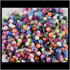 & Bell Button Drop Delivery 2021 100Pcs Lot Body Jewelry Piercing Eyebrow Navel Belly Tongue Lip Bar Rings Mixed Color 3Gymq