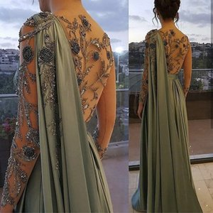Arabic One Shoulder Olive Green Muslim Evening Dress with Cape Long Sleeves Dubai Women Prom Party Gowns Dresses Elegant Plus Size