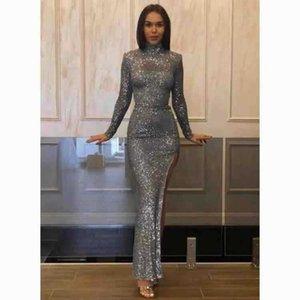 Women's high collar long sleeve split Sequin in