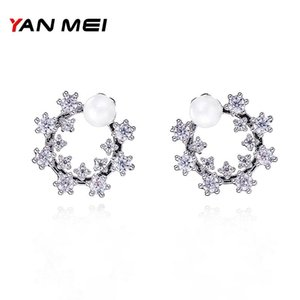 Imitation Pearl Flower Shape Stud Earrings For Women Small Cute Crystal Girl Fashion Gift Boucle D'oreille YME7671Y