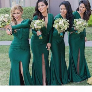 Modest long Sleeve Bridesmaid Dresses 2021 Green V Neck Mermaid Split Wedding Guest Dress Plus Size Maid of Honor Gowns