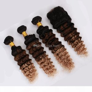 Brazilian Human Hair Deep Wave Lace Closure With Bundles Three Tone Colored Hair With Closure Ombre 1b 4 27 Virgin Hair With Closure