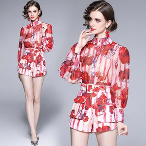 Floral Womens Set Lantern Sleeve Shirt+pants Long Sleeve Retro Trend Summer Autumn Two Piece Set High-end Fashion Trend Girl Printed Suits