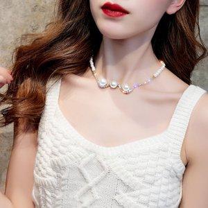 Kore Pearl Boncuk Zincirler Gerdanlık Kolye Kadınlar için Moda Çift Katmanlı Kolye Lüks Kişiselleştirilmiş Takı Hediye 302 G2
