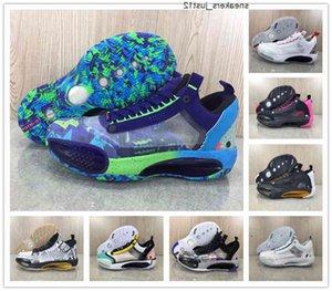 XXXIV 34 Low Regency Purple Croustillant Guo Ailun Hommes Bottes Chaussures Bask-Top J34 Blanc Argent métallisé Sports roses Sports rose avec boîte