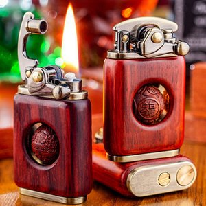 Kerosene Lights Palissander Retro Solid Personality Creative Cigarette Lighter Ignite Pure Copper High Quality Wood
