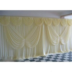 2020 Ivory Wedding Backdrop Curtain Angle Wings Sequined Cheap Wedding Decorations 6m*3m Cloth Background Scene Wedding Decor Supplies
