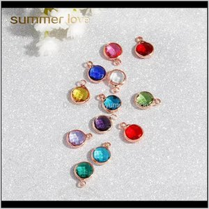 Findings & Components Drop Delivery 2021 Rose Gold Birthstone Charms Rhinestones 8Dot7Mm Charm Glass Pendant Diy For Jewelry Making Necklace