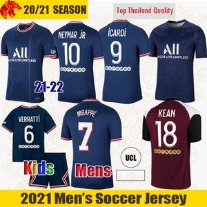 أطقم قمصان كرة القدم 22 21 PSƓ جيرسي لكرة القدم 2020 2021 MBAPPE ICARDI NEYMAR قميص JR الرجال والأطفال مجموعات موحدة الرجال الأطفال