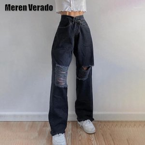 Jeans Women Black Ripped Straight Baggy Mom Boyfriend Jean High Waist Wide Leg Vintage Distressed Cut Out Hollow Out Denim Pants1