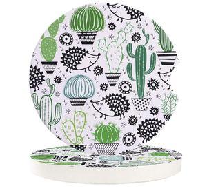 Table Runner Hedgehog And Cactus Cartoon Car Coasters Set Heat Resistant Placemats Drink Mat Tea Coffee Cup Pad Waterproof Creative Decor