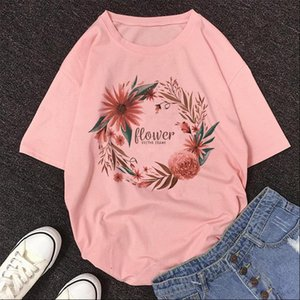 Flower VECTOR FRAME Letter Women Shirts Print Shirt Womens Short Sleeve O neck Loose Shein Summer Female Vintage