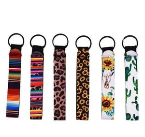 Ring Diving Material Wrist Strap Wristlet Keychains Neoprene Colourful Printed Key Chain Lanyard Keychain FFC4552 JA2Y