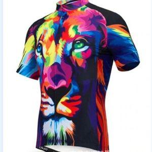 Разнообразные велосипедные одежды с короткими рукавами Верхняя голова льва Граффити Горный велосипед рубашка