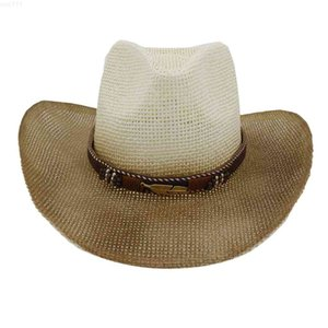 Ethnic Style Hat Fashion Chic Unisex Solid Color Jazz Leather Belt Wide Cap Bull Shaped Decor Western Cowboy Hats #TG3XO1D{category}