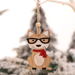 Christmas Ornament Wooden Hanging Pendants car dog Tree Bell xmas Decorations For Home LLA8951