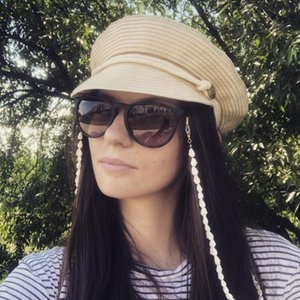 Womens Summer Panama Style Straw Weaving Hat Flat Top Cap Punk Black White Beige Visors