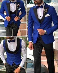 Erkekler Suits Kraliyet Mavi Ve Siyah Damat Smokin Şal Saten Yaka Groomsmen Düğün Adam (Ceket + Pantolon + Papyon + Yelek) C680 Erkek Blazers
