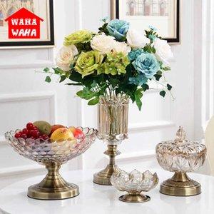 European Retro Glass Metal Alloy Gold Vase Modern Table Artificial Flower Bottle Home Furnishing living room decoration