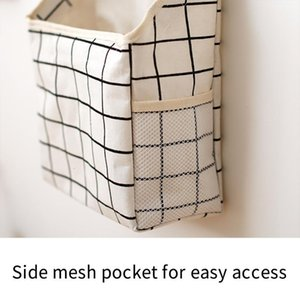 Wall-Mounted Storage Bag Book Magazine Mobile Phone Holder Pocket With Hook Kitchen Organizer Tools Bags