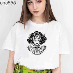 Boho Gothic T Shirts Women Black Cotton Tshirts 90s Grunge Goth Graphic Tee Hippie Funny Skull Skeleton Tops