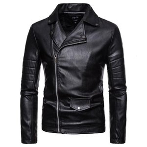Long Sleeve Spring Autumn Men's Autumn Winter Casual Zipper Leather Jacket Long Sleeve Shirt Top Blouse Drop Shipping