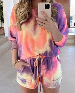 Women Tie-dye Print Outfits, Long Sleeve Round Neck T-shirt Drawstring Shorts Casual Style Clothes Set Two Piece Dress