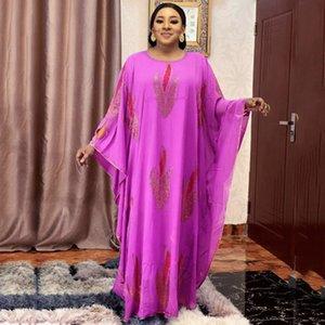 2021Diamonds Африканское шифоновое платье Ankara DASHIKI MAXI Платья для женщин Мода Мусульманская Абая Традиционный Плюс Размер Boubou Kindire