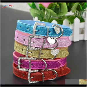Collars Leashes 20 Pieceslot Fashion Bling Pu Leather With Heart Crystal Pendant Puppy Dog Pet Necklace Collar 201030 U1O0G X0Eaf